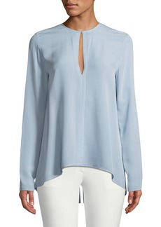 Theory Long-Sleeve Slit-Front Silk Classic Georgette Tunic Top