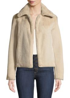 Theory Luxe Faux-Fur Portrait-Neck Jacket