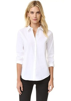 Theory Luxe Tenia Button Down Blouse