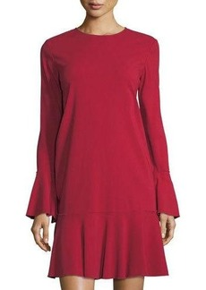 Theory Marah Bergen Long-Sleeve Flounce Dress