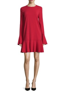 Theory Marah Long-Sleeve Drop-Peplum Dress