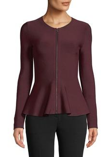 Theory Marl Crewneck Zip-Front Glossed Peplum Jacket