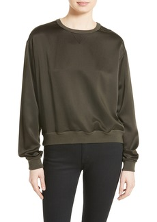 Theory Massar W Vintage Silk Satin Sweatshirt