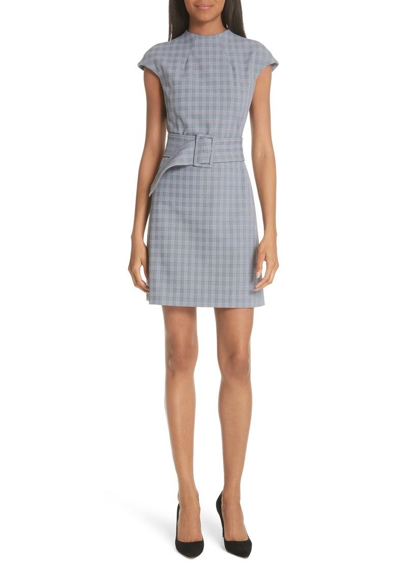 Theory McClair Plaid Mod Belted Sheath Dress