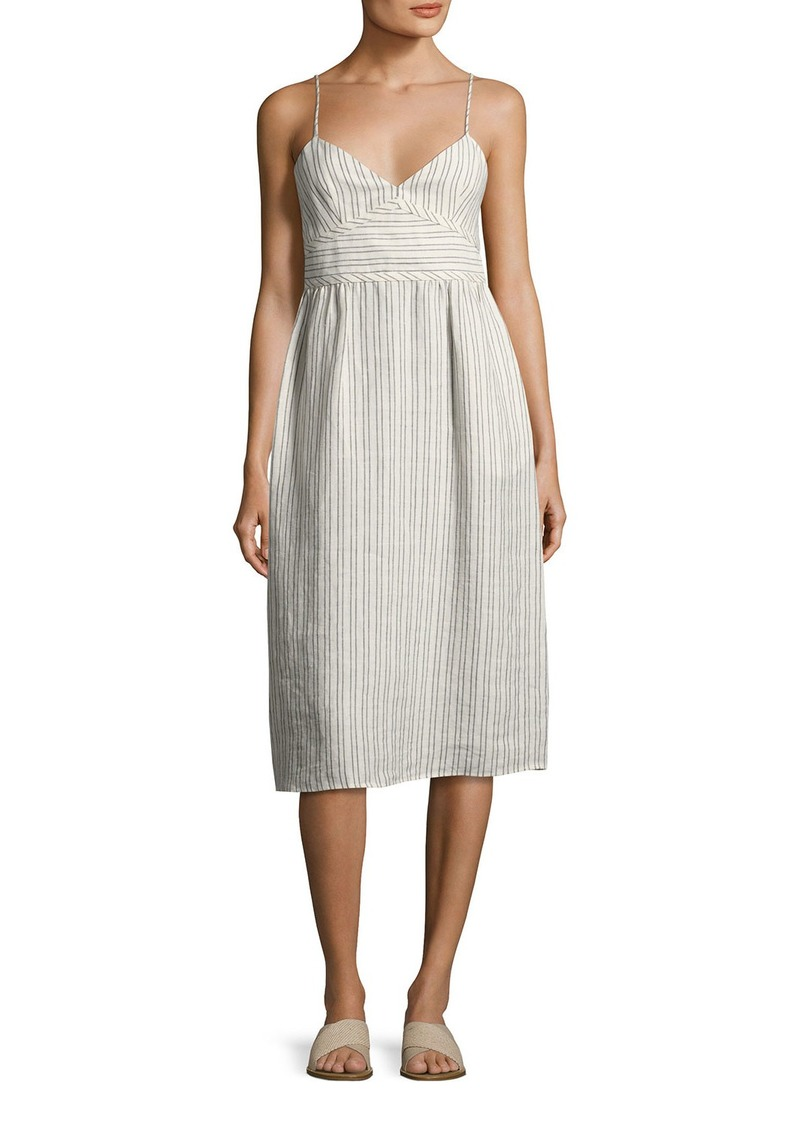Theory Melaena B Narrow-Stripe Linen Sundress
