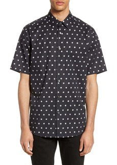 Theory Menlo Slim Fit Short Sleeve Polka Dot Button-Up Shirt