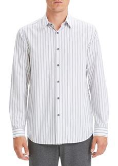 Theory Menlo Slim Fit Draw Stripe Cotton Sport Shirt