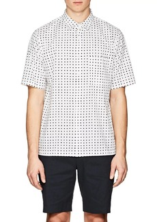 Theory Men's Bruner Squared-Dot-Print Stretch-Cotton Shirt