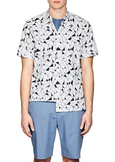 Theory Men's Geometric-Print Cotton Poplin Shirt