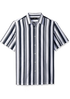 Theory Men's Irving Wide Stripe Shirting Short Sleeve Eclipse L