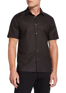 Theory Men's Linen-Cotton Patterned Sport Shirt