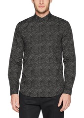 Theory Men's Long Sleeve Black Multi Woven S
