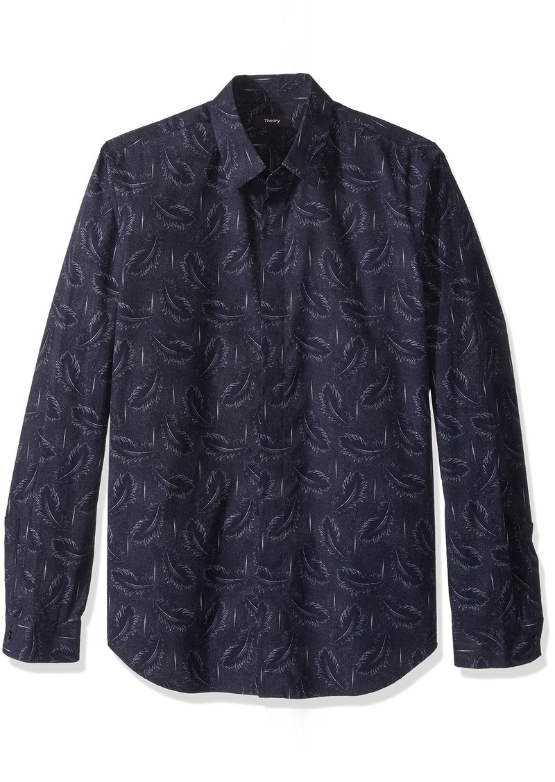 Theory Men's Long Sleeve Feather Printed Woven  M