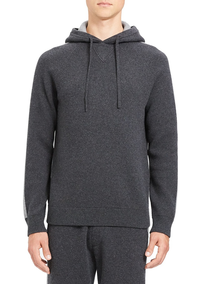 Theory Men's Lounge Crimden Striped-Sleeve Hoodie Sweatshirt