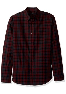 Theory Men's Plaid Check Long Sleeve Woven  XL