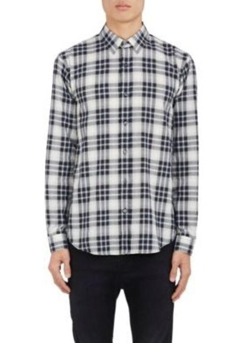 Theory Theory Men 39 S Plaid Herringbone Weave Cotton Shirt