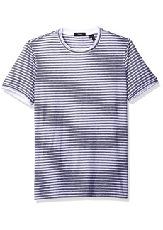 Theory Men's Rylee T Shirt Multi Stripe Short Sleeve Crew White