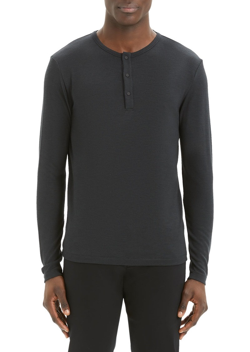 Theory Men's Solid Snap-Button Henley Shirt