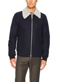 Theory Men's Woll Bomber Jacket with Removable Shearling Collar  M