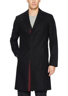 Theory Men's Wool Over Coat with Stripe  S