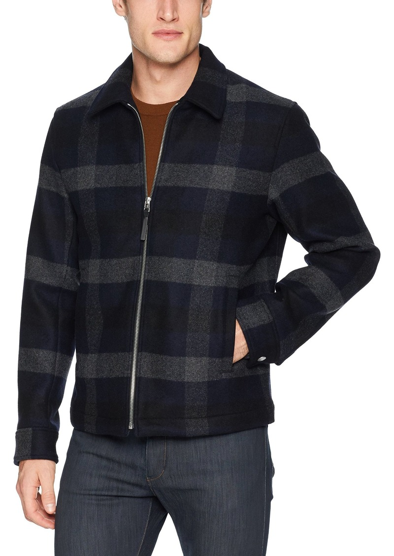 Theory Men's Wyatt Plaid Front Zip Coat  M