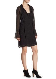 Theory Metallic Detail Bell-Sleeve Scarf Dress