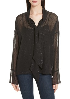 Theory Metallic Silk Scarf Shirt