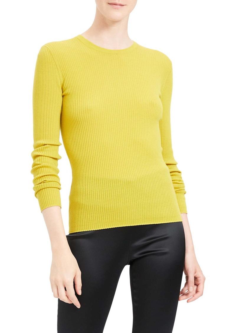 Theory Mirzi RW Regal Ribbed Long Sleeve Wool Blend Sweater