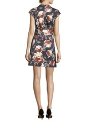 Theory Mock-Neck Belted Floral-Print Satin Dress