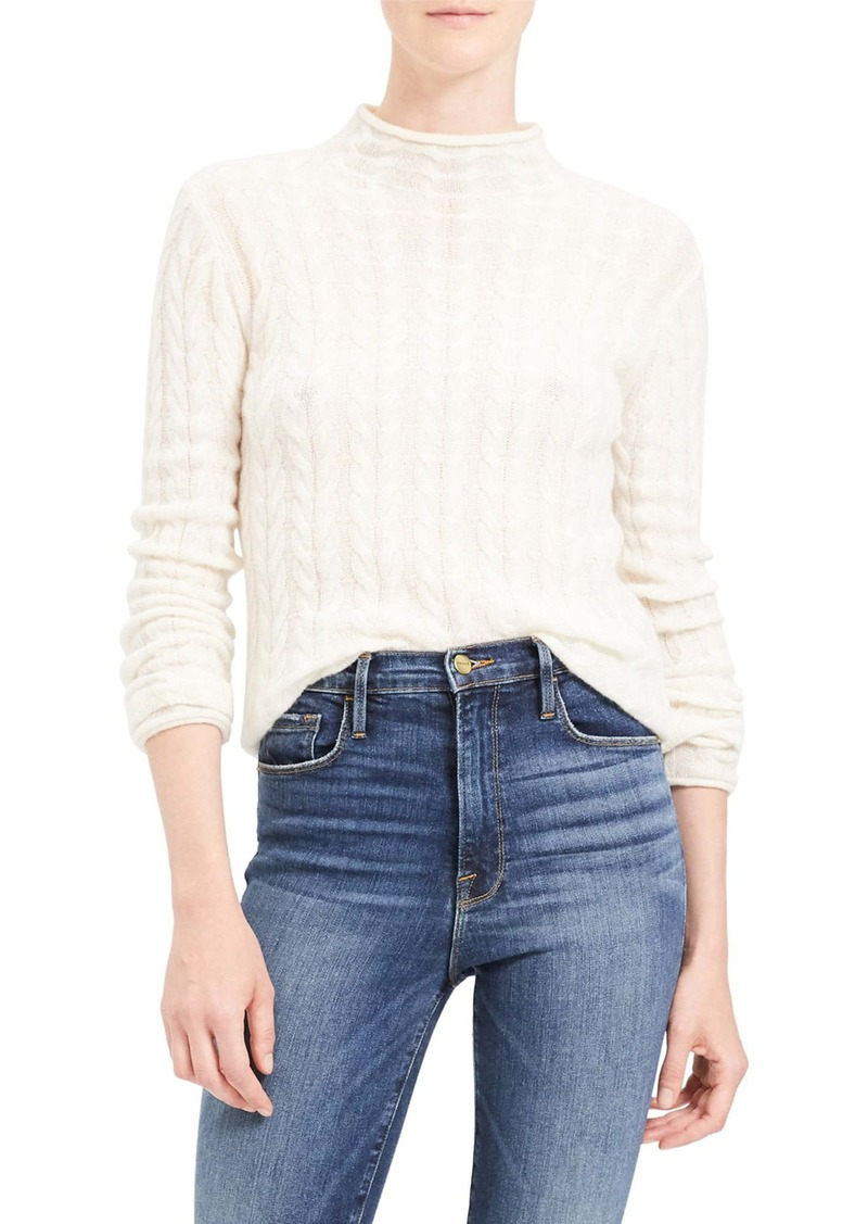 Theory Mock Neck Cable Knit Cashmere Sweater