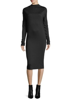 Theory Mock-Neck Long-Sleeve Drapey Jersey Midi Dress
