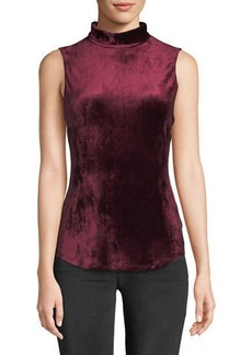 Theory Mock-Neck Sleeveless Slim Velour Knit Tank
