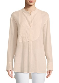 Theory Modern Bib Long-Sleeve Button-Front Cotton Tunic