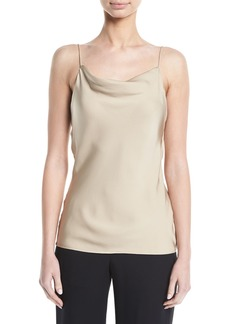 Theory Modern Silk Georgette Cowl-Neck Draped Cami Top