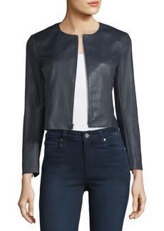 Theory Morene Round-Neck Cropped Lamb Leather Jacket
