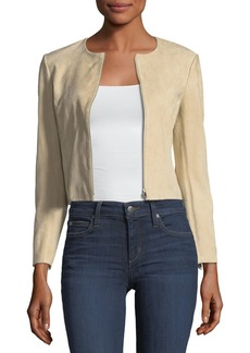 Theory Morene Zip-Front Cropped Stretch-Hide Suede Jacket