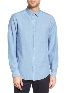 Theory Murrary Indy Regular Fit Solid Cotton & Linen Sport Shirt