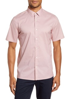 Theory Murrary Slim Fit Mini Cube Short Sleeve Button-Up Shirt