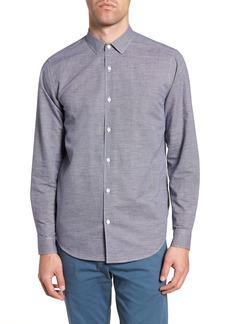 Theory Murrary Trim Fit Check Linen & Cotton Sport Shirt