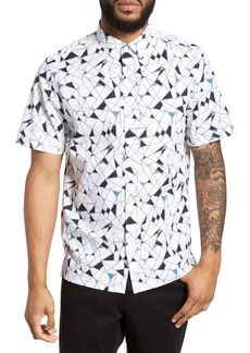 Theory Murrary Trim Fit Geometric Short Sleeve Sport Shirt