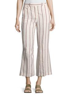 Theory Nadeema Wide-Stripe Linen Cropped Pants