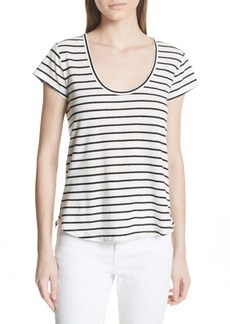 Theory Navigate Stripe Linen Cotton Tee