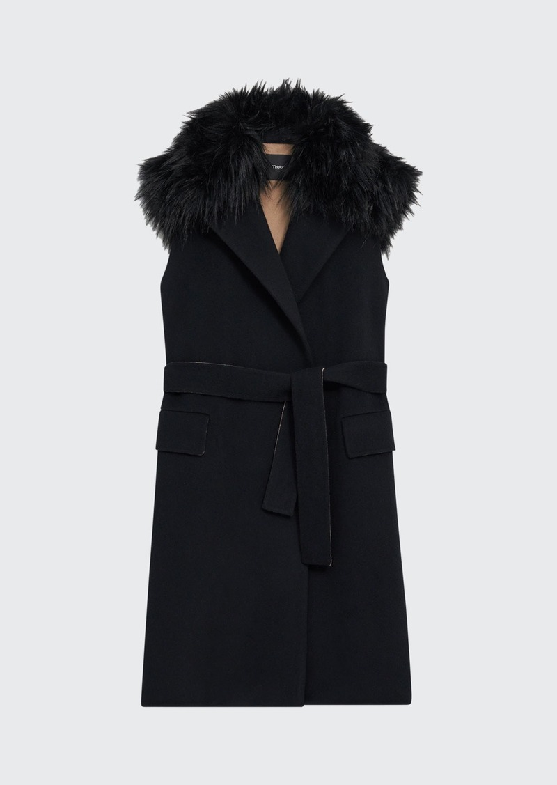 Theory New Divide Faux-Fur Combo Vest