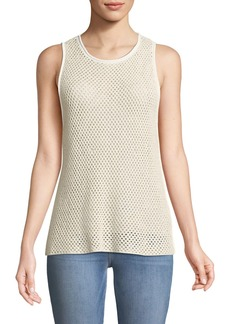 Theory New Harbor Sleeveless Crewneck Mesh Sweater