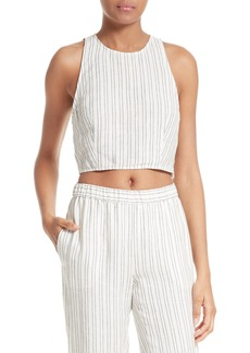 Theory Nikayla Stripe Linen Crop Top