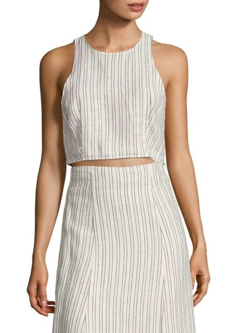 Theory Nikayla Striped Linen Cropped Top