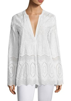 Theory Ofeliah Cotton Eyelet Blouse