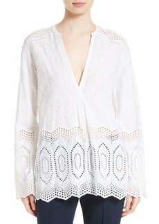 Theory Ofeliah Eyelet Cotton Top