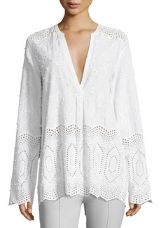 Theory Ofeliah Eyelet Indian Cotton Blouse