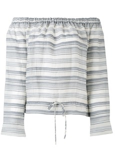 Theory off-shoulders striped blouse - Blue